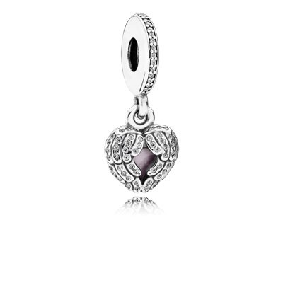 PANDORA Angel Wings with Pink Enamel and Clear CZ Dangle